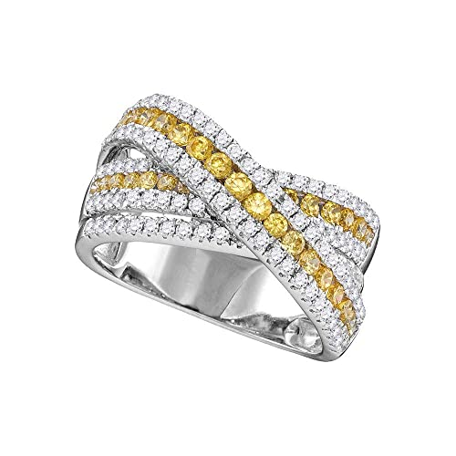 04d296adc0 14kt White Gold Womens Round Canary Yellow Diamond Crossover Fashion Band  Ring 1-1/2 Cttw: Amazon.ca: Jewelry