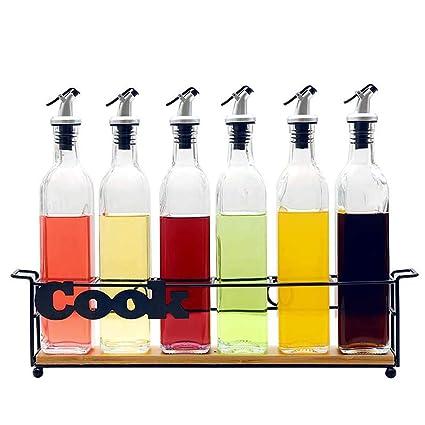 GLMAMK Frascos de Vidrio, vinagre, Salsa de Soja, Botella de Vino, Hierro
