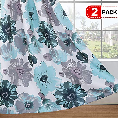 - H.VERSAILTEX Thermal Insulated Room Darkening Curtains for Bedroom Living Room Blackout Window Treatment Traditional Vintage Floral in Blue/Gray - 2 Panels - 52 by 63 inch
