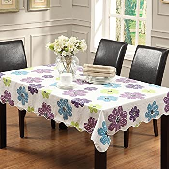 Ennas Cz219 Flannel Backed Vinyl Tablecloth Waterproof Oblong(rectangle)  (47 Inch By