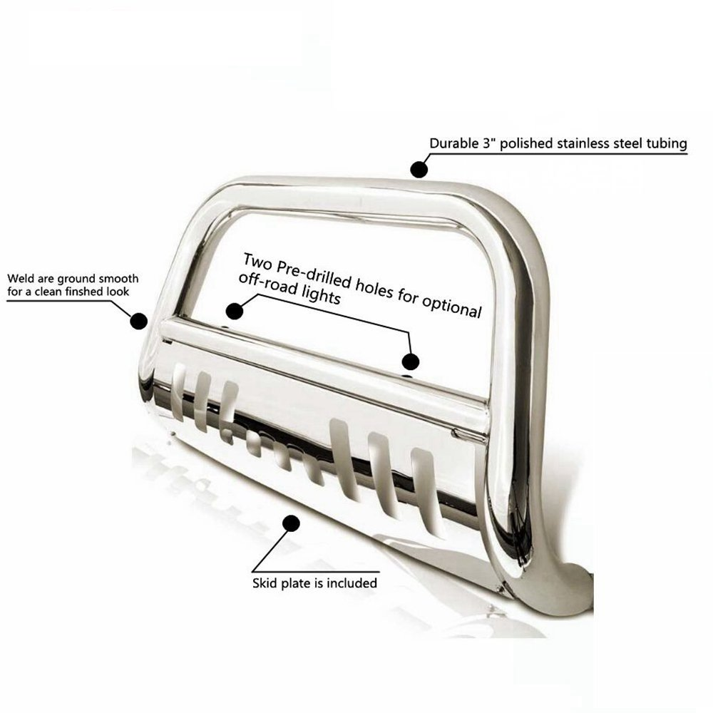FITDRV Stainless Bull Bar for Front w//Skid Plate for 2009-2015 Honda Pilot