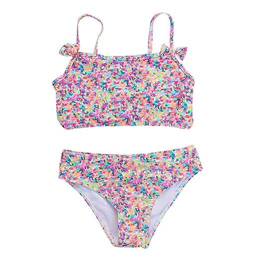 f3bffaf3e4 ChYoung Baby Girls Bathing Suit Tankini Bowknot Floral Printed Bikini Tops  and Bottoms Swimwear Kids Beachwear