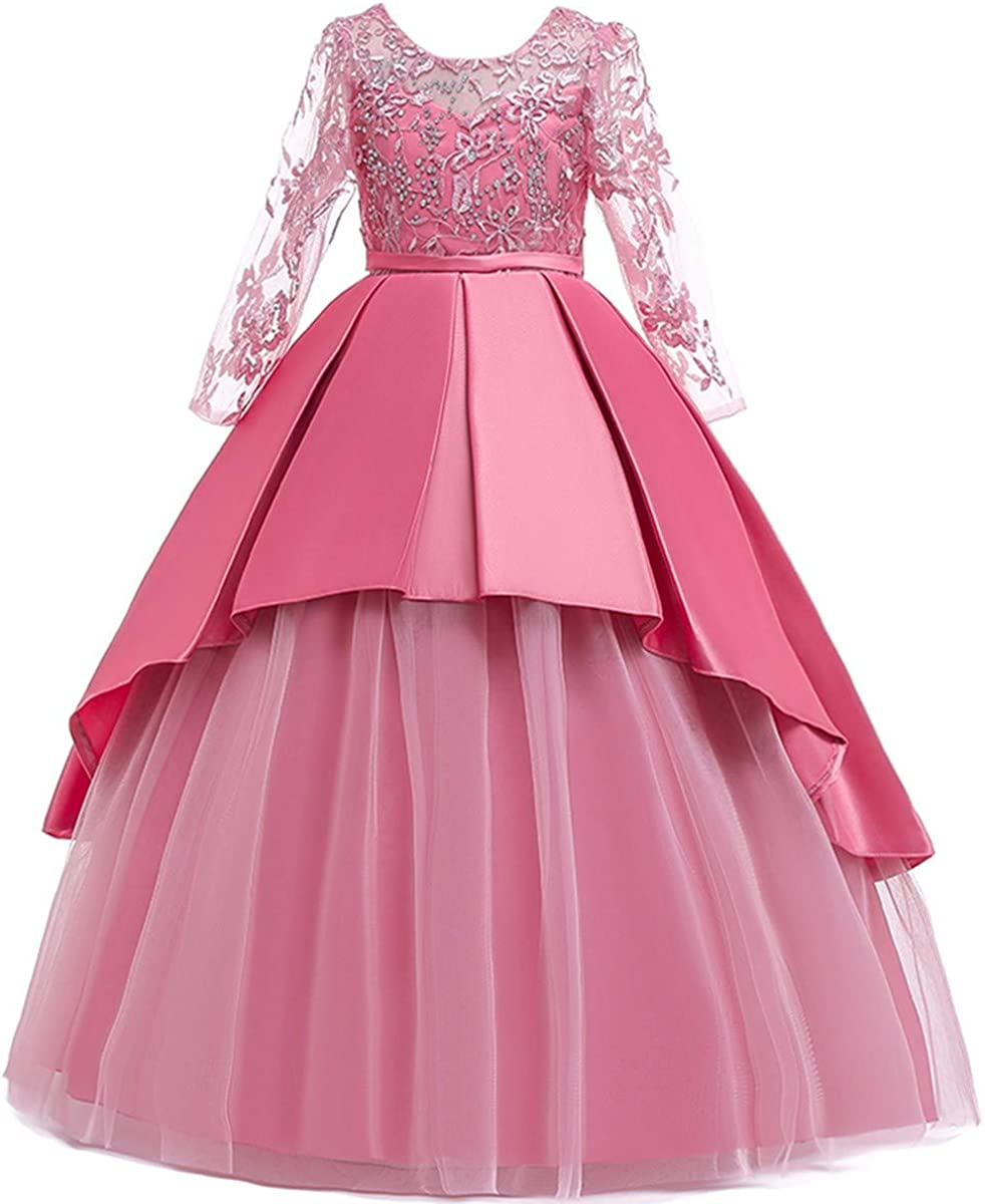 Girls Kids Princess Floral Lace Dress Wedding Party Bridesmaid Ball Gown Dresses