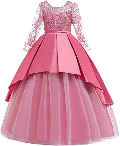 MYRISAM Girls Applique Lace Princess Pageant Dresses Long Sleeve Bridesmaid Wedding Party Birthday Long Gown
