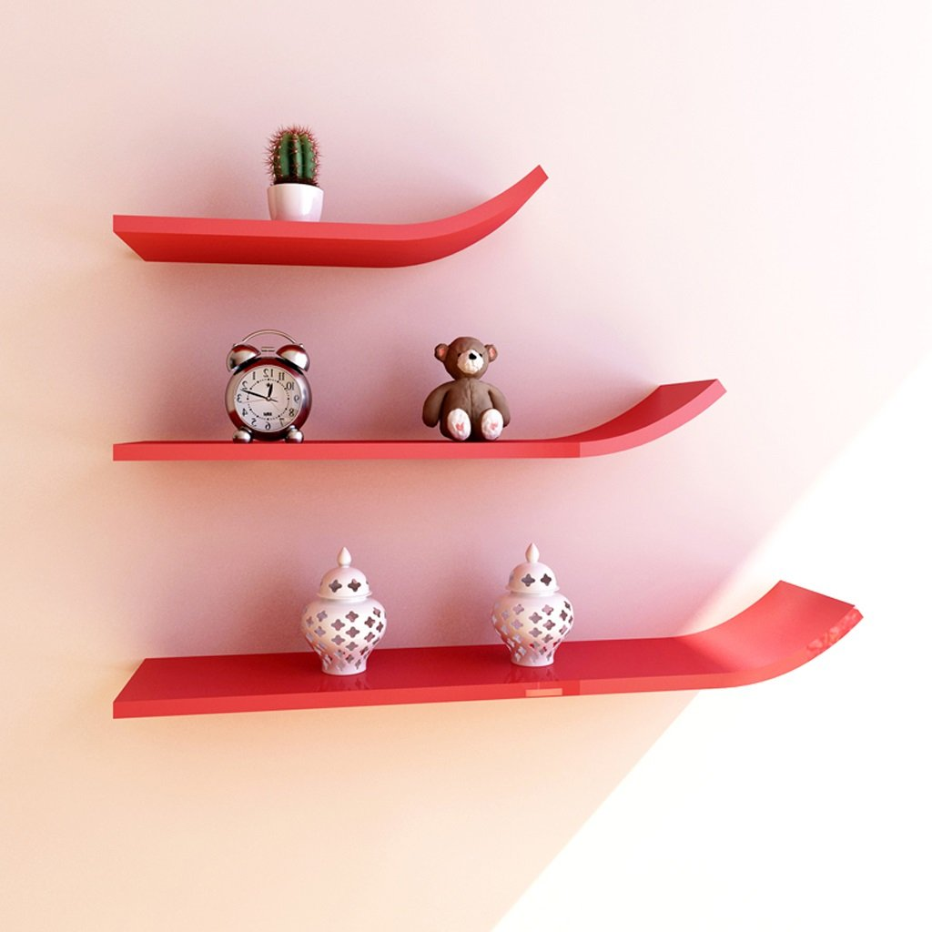 Wall Shelf Shelf Decoration Frame Bookshelf Fashion Busset TV Cabinet Background Wall J Type Storage Tower ( Color : Red )