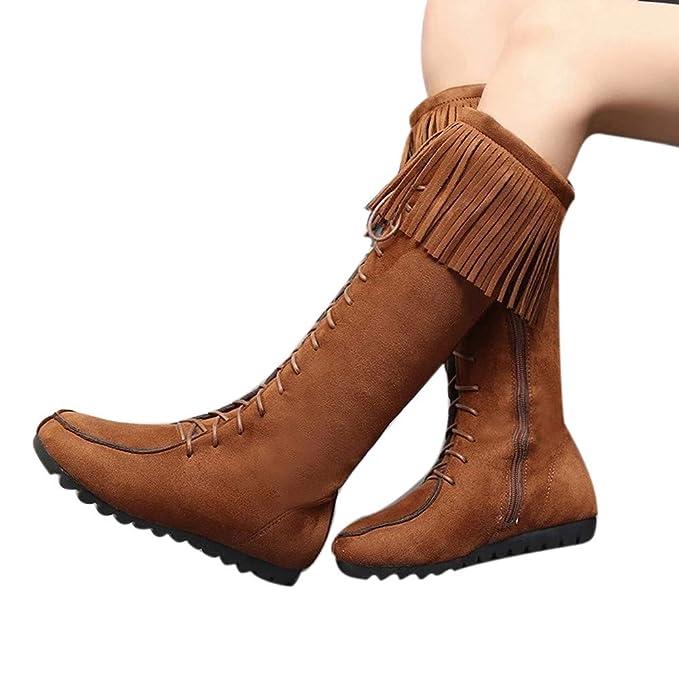 LILICAT Lacets femmes genou bottes longues frange talons plats bottes  longues gland genou botte haute bottes lacées automne hiver  Amazon.fr   Vêtements et ... 329570a80bad