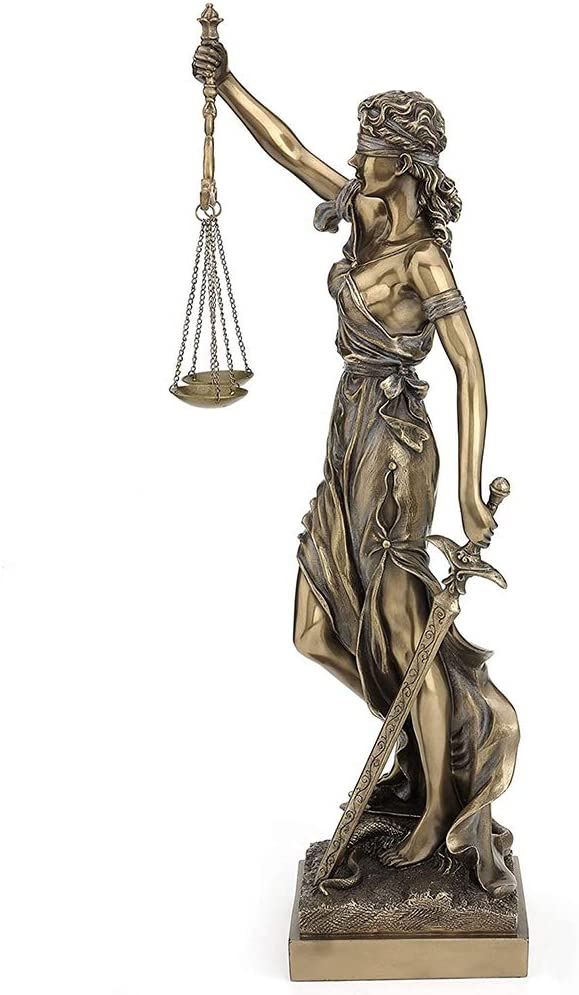 6x4x12inch qwqqaq Lady Justice Statue Sculpture,large Blindfolded Cold Cast Bronze Resin Roman Goddess Of Justice Figurine Carrying Justice And Sword-c 16x10x31cm