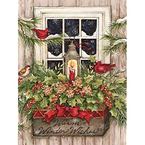 lang 1004688 window box snow boxed christmas cards artwork by susan winget 18 cards 19 envelopes 5375 x 6875 - Amazon Christmas Cards