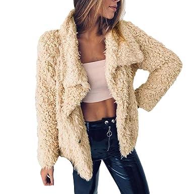 Yvelands Moda para Mujer Invierno Cálido Faux Fur Manga Larga Chaqueta sólida Tops Abrigos Chaquetas Blusa
