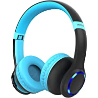 Mpow CH9 Kids Headphones Bluetooth 5.0 LED Light, 14Hours Playing Wireless Foldable Headset w/Mic, Volume Limited 85dB-95dB for PC/Cellphone/TV/School