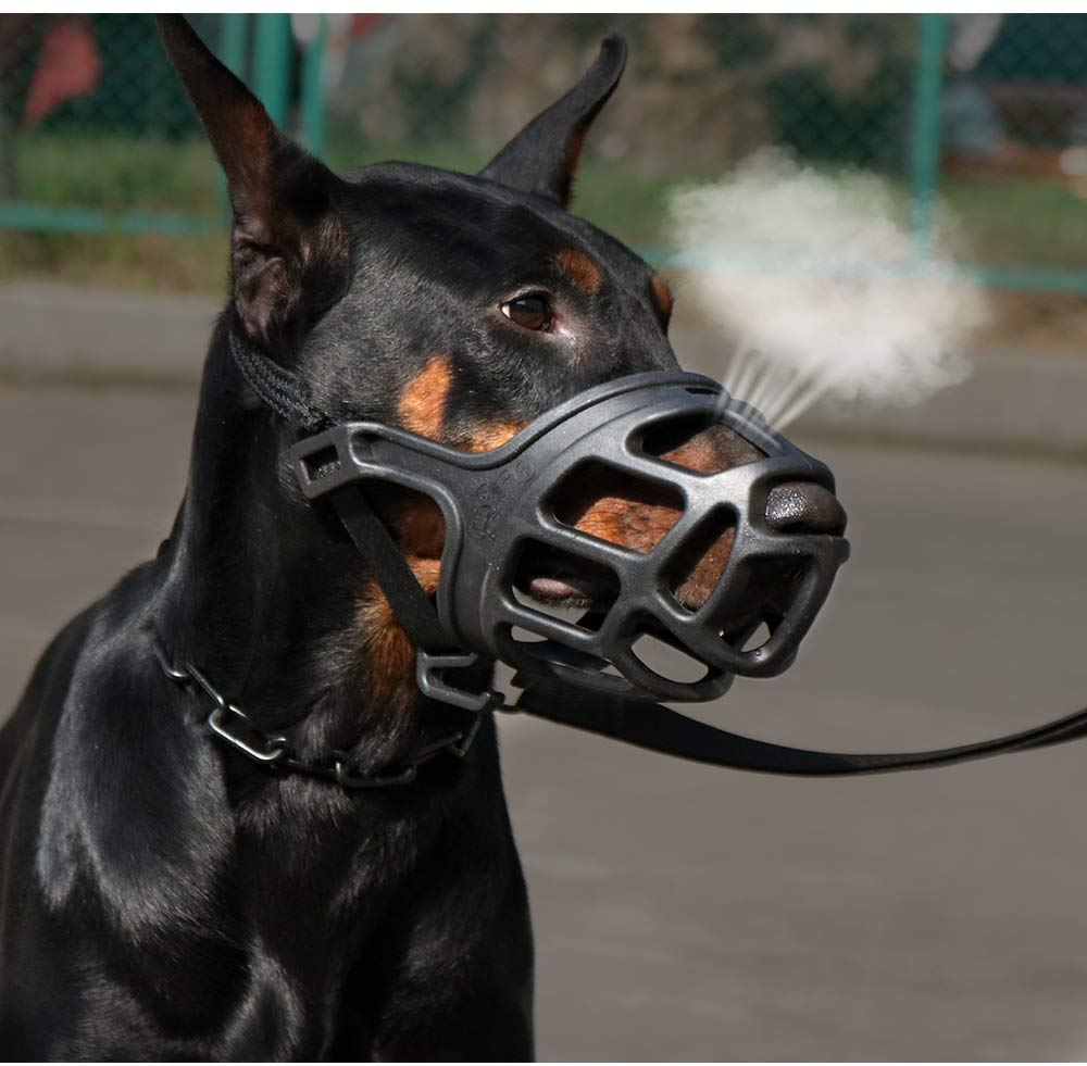 SHUNAI Pet Dog Muzzle, Soft Basket Rubber Muzzle for Dog Ergonomics, Small Medium Large Dog Muzzle to NO Biting, Chewing, Barking, Adjustable Breathable Drinkable (4-Snout 11.8~12.9'')