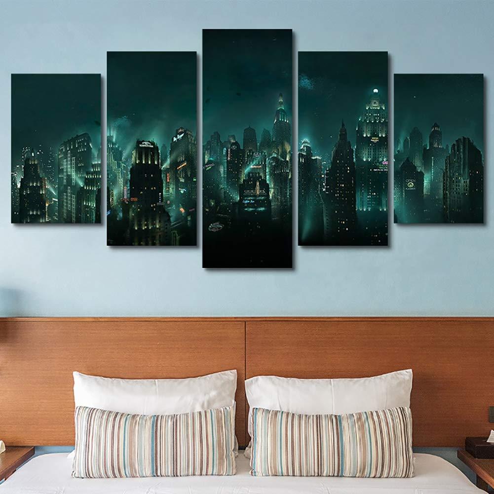 Amazon com xlst canvas pictures hd print 5 panel bioshock night