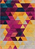 Well Woven Multi Color 5x7 (5'3' x 7'3') Area Rug Geometric Barque Triangles Bright Fuchsia Purple Blue Yellow Vibrant Abstract Triangle Pattern Contemporary Thick Soft Plush