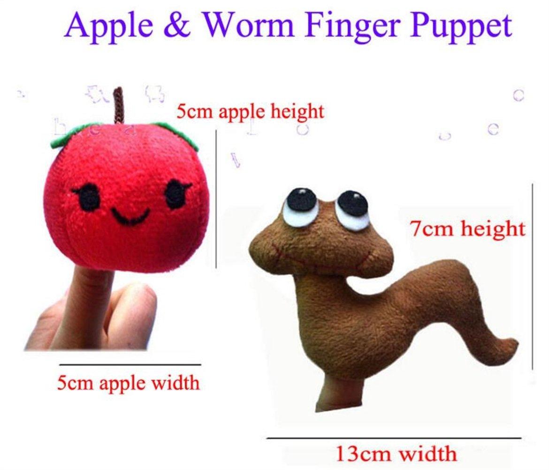 DollylaStore Lustige Fingerpuppen 2 Stück Fingerpuppe Set Kuscheltier Kinder Lernen Spielen Geschichte Apfel und Wurm Finger