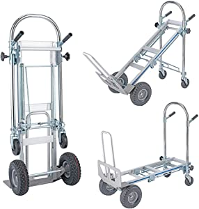 Henf 3 in 1 Convertible Hand Truck, 770 Lb Capacity Portable Climbing Cart Folding Handtruck Cart Trolley Utility Cart with Wheels for Luggage, Personal, Travel, Moving and Office Use