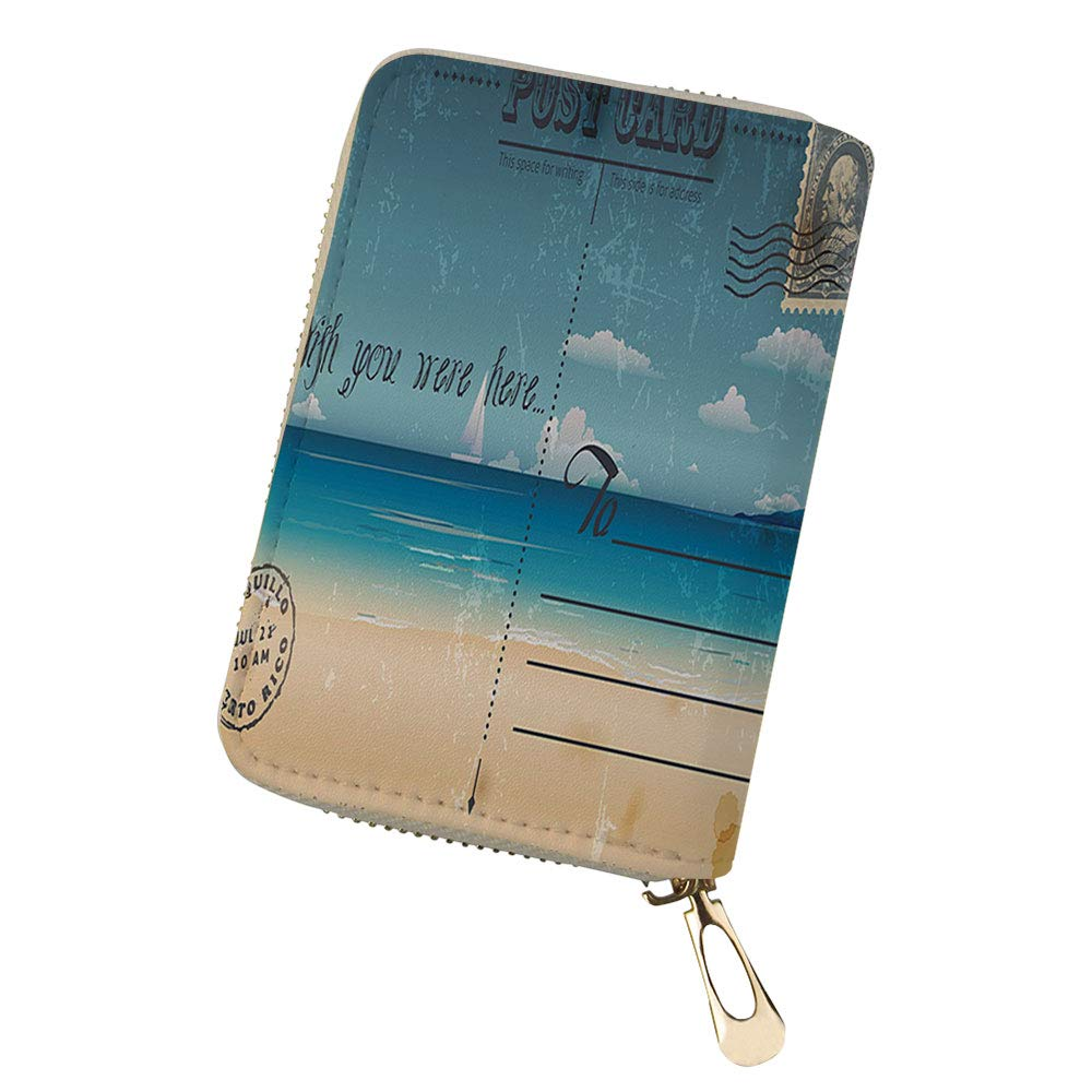 RFID Blocking Credit Card Holder Vintage Pattern wit Leather Zipper Card Case