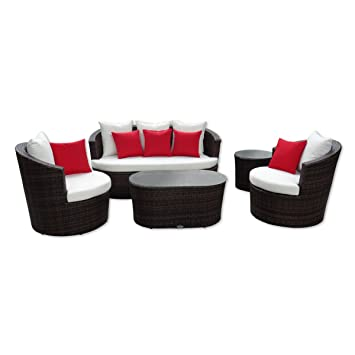 Amazon.de: Rattan Gartenmöbel - Garten Lounge Set - rundes Design ...