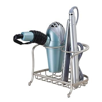 InterDesign iDesign Soporte para secador de Pelo, pequeño Estante de baño de Metal, Soporte de pie Independiente con 2 Compartimentos para secador y Plancha ...