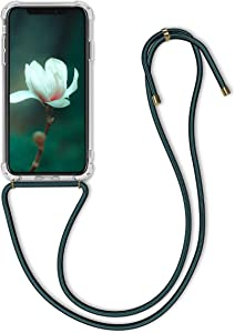 kwmobile Crossbody Case Compatible with Apple iPhone XR - Clear Transparent TPU Cell Phone Cover with Neck Cord Lanyard Strap - Transparent/Dark Green