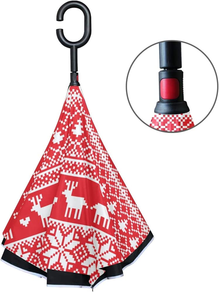 KUneh Double Layer Inverted Seamless Christmas Pixel Pattern Norwegian Style Umbrellas Reverse Folding Umbrella Windproof Uv Protection Big Straight Umbrella for Car Rain Outdoor with C-Shaped Handle 71LaBXoIOBL