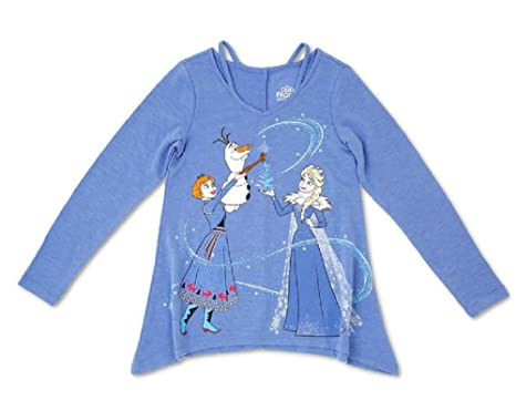 59e471fc Image Unavailable. Image not available for. Color: Olaf's Frozen Adventure Frozen  Tee Long Sleeve T-Shirt - Heather Blue Anna Elsa Olaf
