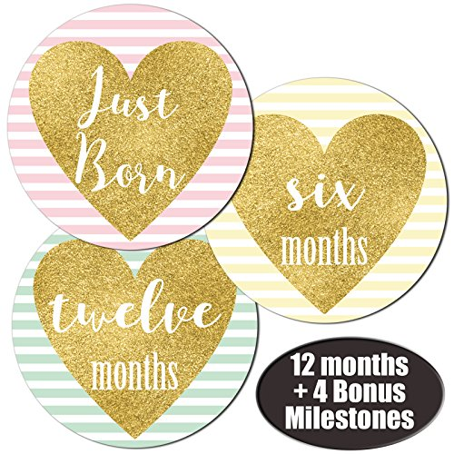 Baby Girl Gold Heart Monthly Stickers - Great Shower Registry Gift or Scrapbook Photo Keepsake