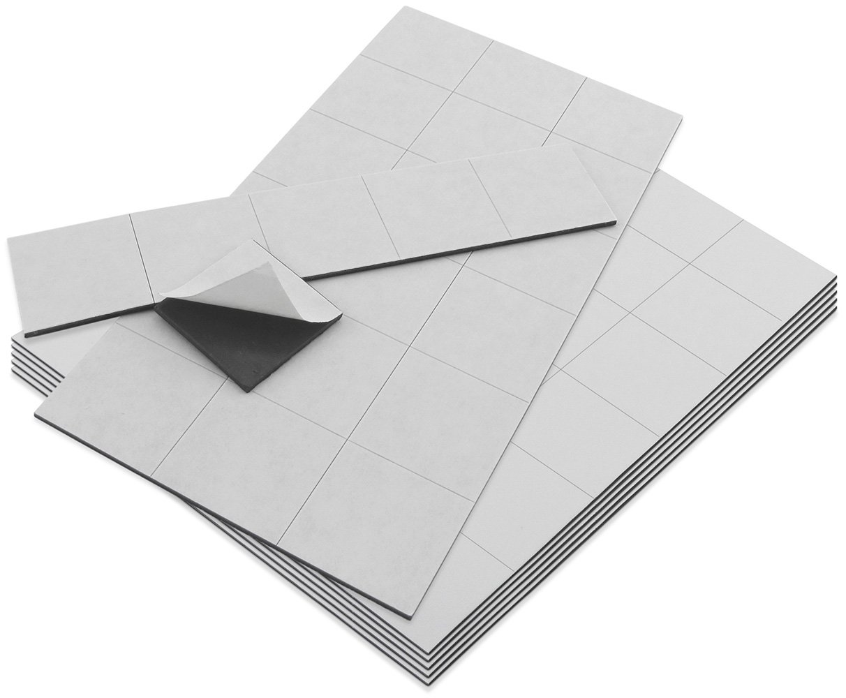 Master Magnetics ZGN60APAADCR4X6X6 Flexible Magnet Squares with Adhesive Back, 1/16'' Thick, 1'' Wide, 1'' Length Scored on Sheet, 144-1'' x 1'' Pieces (Pack of 144)