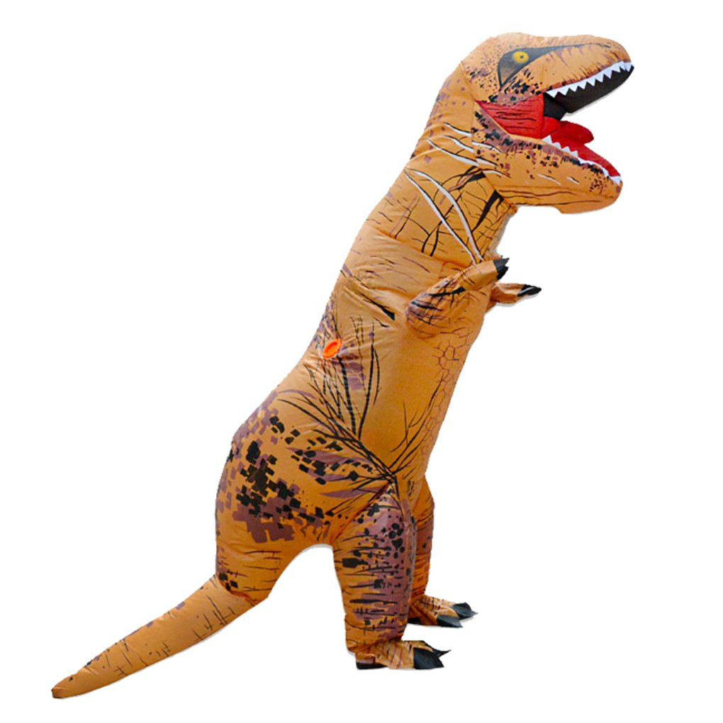 DREAMOWL Unisex Children Kids T-Rex Inflatable Dinosaur Costume Blow Up Fancy Funny Dress (brown)