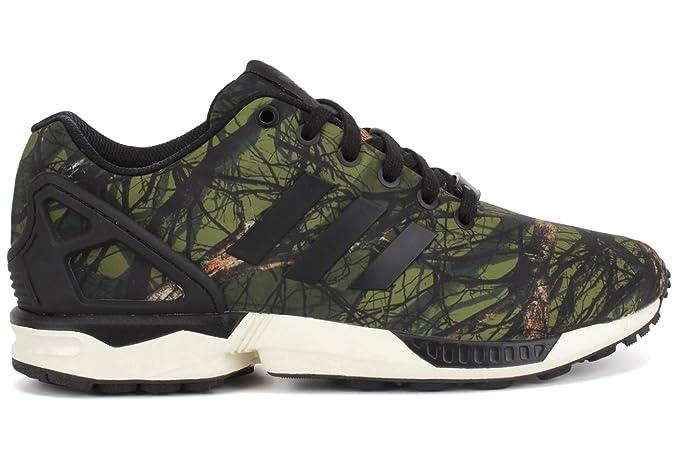 7c3fcd41d91b3 Adidas Men s ZX Flux Deep Forest Sneakers B34139 Camo   Black Carbon US  10.5  Amazon.co.uk  Shoes   Bags