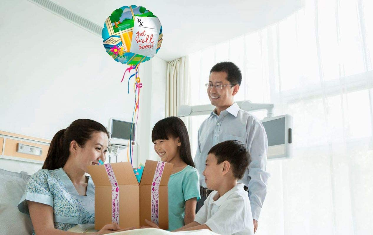 Plays a Happy Birthday Jingle When Opened Customizable Greeting Card BALOONS IN THE BOX Get Well Soon Inflated Helium Balloon