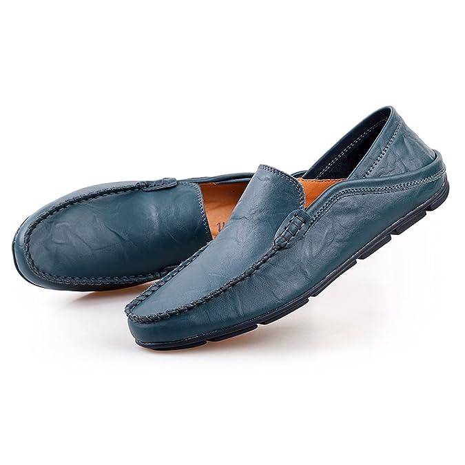 Shenn Herren Mode Schlüpfen Mokassins Beiläufig Leder Halbschuhe Schuhe 20138 (Schwarz,EU42)