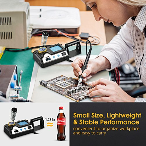HoLife Digital Display 60W Soldering Iron Station with 5 Extra Soldering Tips, Sleep Function, Constant Temperature Control, C/F Switch, Solder Roll Holder, Brass Tip Cleaner, Sponge by HOLIFE (Image #5)
