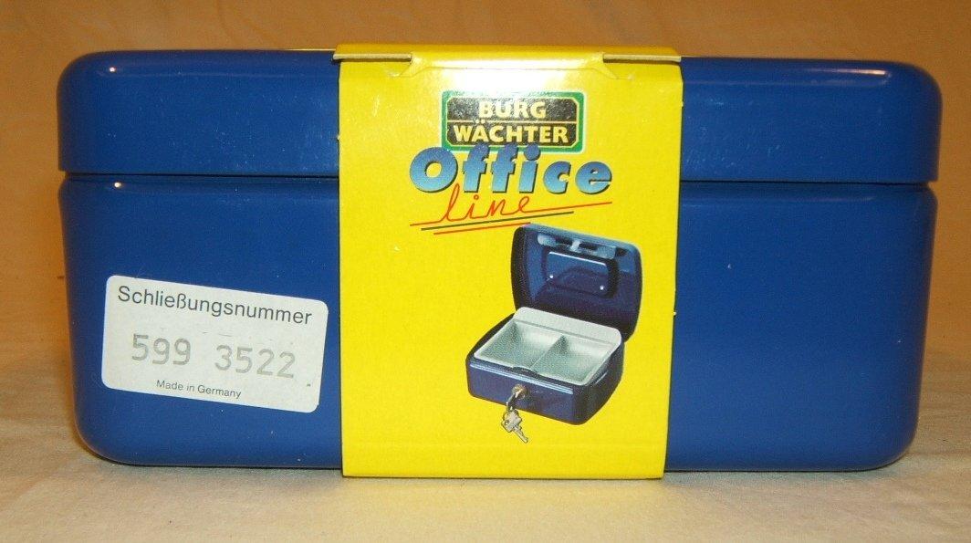 Burg Wachter Cash Box 7-in x 5 1/4-in x 3-in German Made 2167BL Office Steel