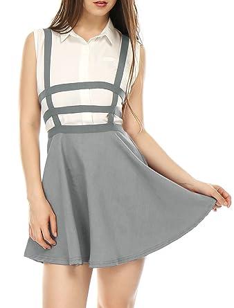 Allegra K Mujer Falda con Tiras de Cintura Elástica Corte A Line ...