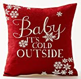 Season's Blessing Warm Sayings Baby It's Cold Outside Snowflake Red Background Cotton Linen Decorative Throw Pillow Case Cushion Cover Square 18
