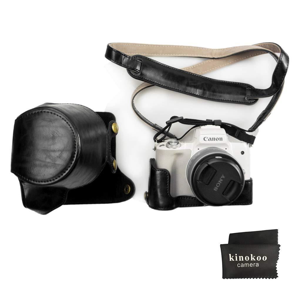 Canon EOS M50, kinokoo Estuche Completo para Canon EOS M50 y Lente de 15-45 mm, Estuche Protector de la Funda de Cuero de la PU (Negro)