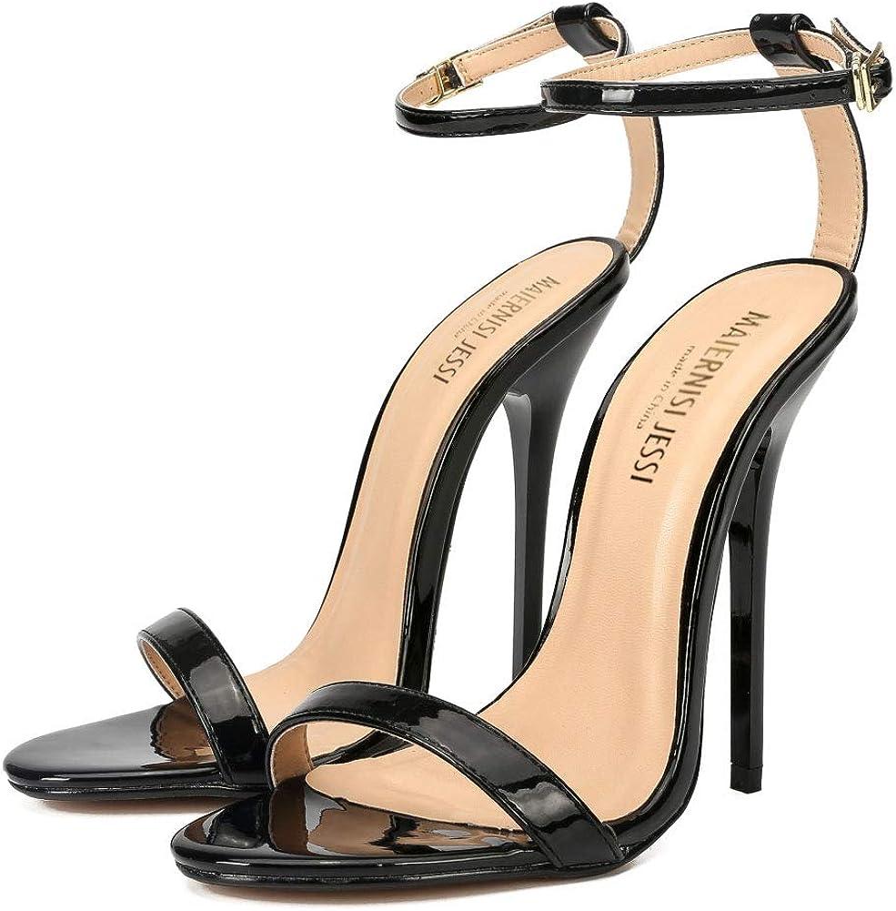 MAIERNISI JESSI Unisex Mens Womens Ankle Strap Stiletto High Heel Dress Sandals