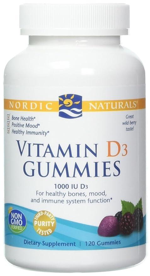 Nordic Naturals - Baya salvaje IU de la vitamina D3 1000 Gummies - 120Gomitas