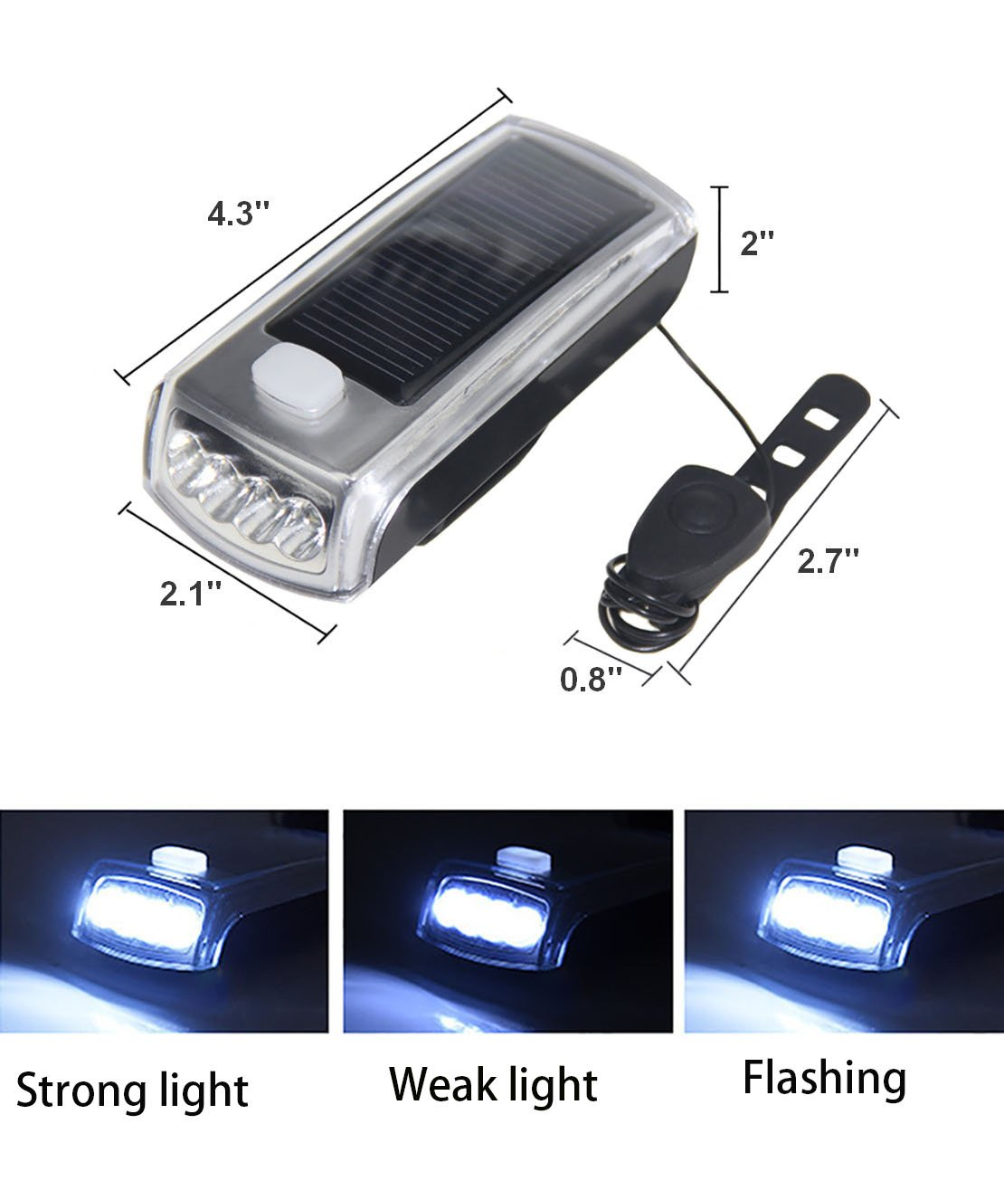 Ultra Bright Bicycle Lights Set - Front Headlights & Horn & Back Taillights, Two(Solar and USB)-in-One Rechargeable LED Bike Front Lights, Waterproof & Safety Road, 1200mAH/1200 Lumens Head Lights. by Juxical (Image #3)