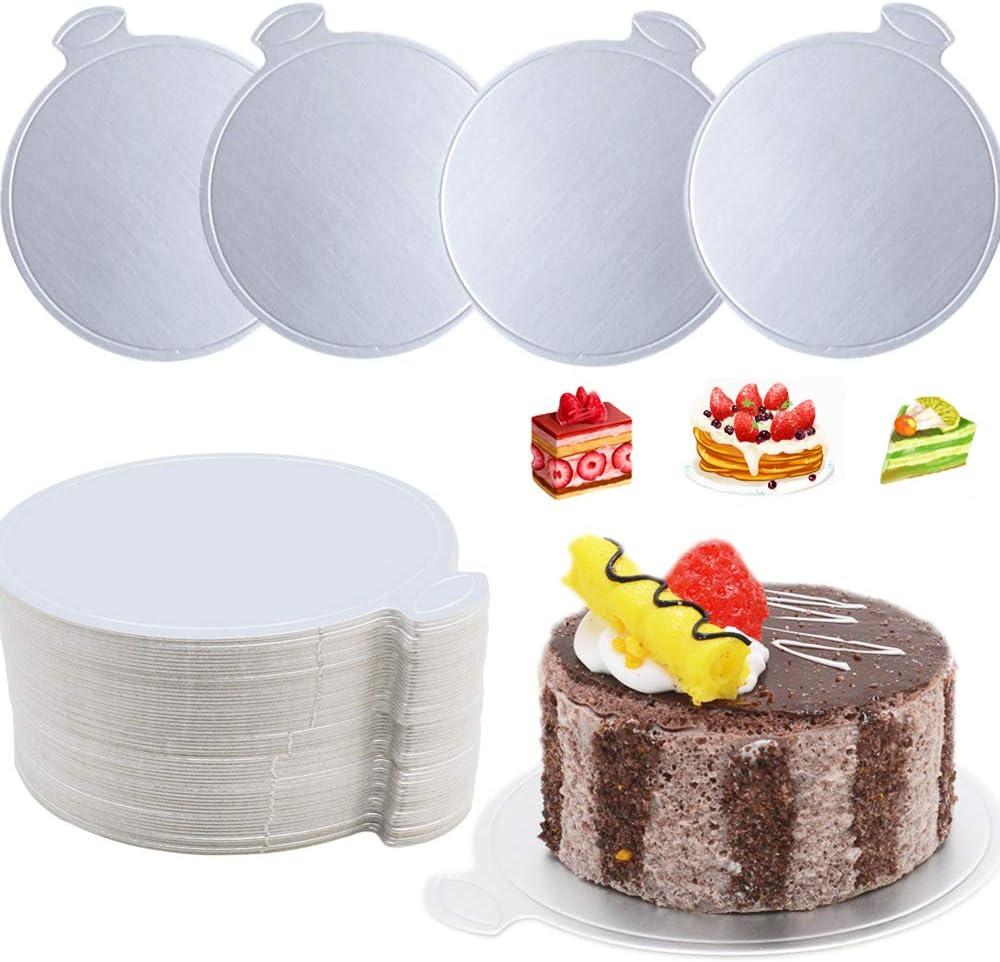 X-BLTU 100PCS dargent Carr/é Supports /à G/âteaux Carton,Planche /à g/âteau Mousse Mariage Anniversaire(Carr/é) Planches Rondes en Mousse,Plateau Dessert en Papier dargent pour Cupcakes Desserts