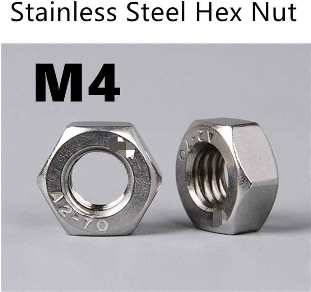 Bolt 唐铭鲆544162 1000pcs//Lot Hex Nut Bolt Sets Metric Thread DIN934 M4 304 Stainless Steel Hexagonal Nut Screw Nut A2-70 Nuts