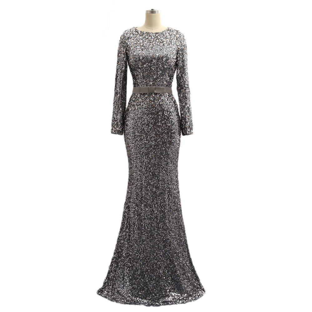 Women's Long Sleeve Beaded Sequin Mermaid Evening Dresses Prom Formal Gowns For Weddings 189 silver-14