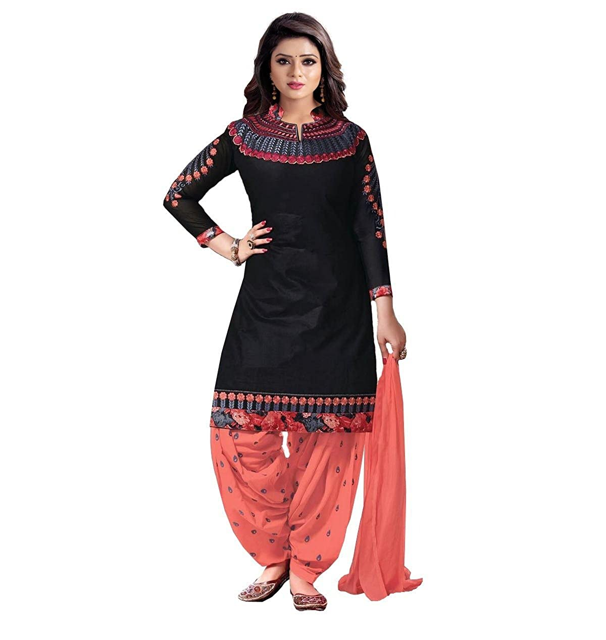 ecc3478c443 Crazy Women s Embroidered Pure Cotton Semi Stitched Patiala Salwar Suits  (Black