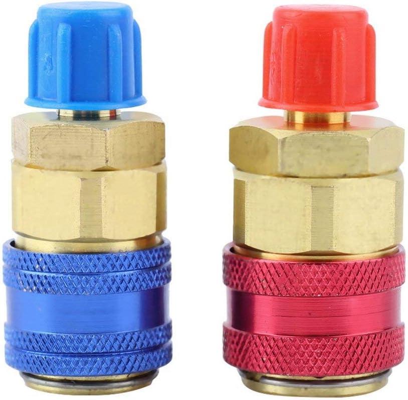 Nuevo adaptador de conector de acoplamiento r/ápido alto y bajo R134A Conversi/ón QC-15 Set Auto Car Env/ío gratis ESjasnyfall azul y rojo