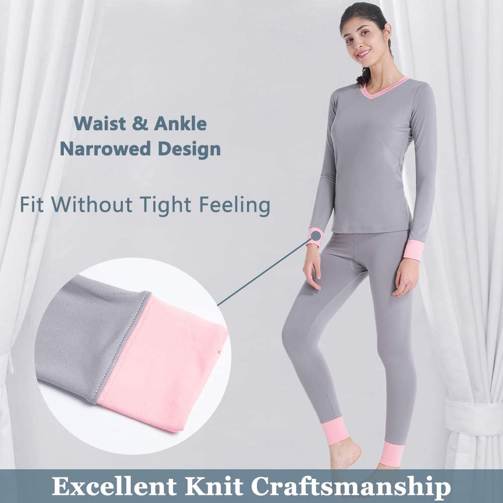 Brovollous Womens Thermal Underwear Long Johns Set with Fleece Lined Ultra Soft V Neck