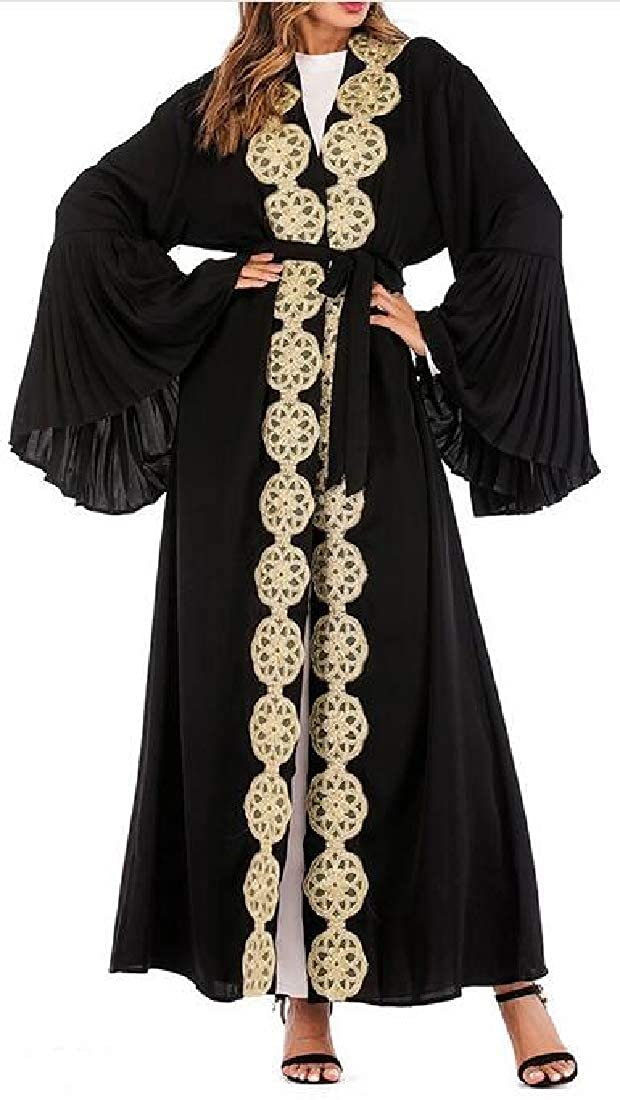 Spirio Womens Loose Muslim Middle East Printed Long Sleeve Open Front Robes Maxi Dress