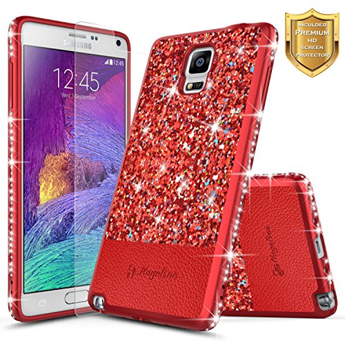 Galaxy Note 4 Case with [Screen Protector HD Clear], NageBee Shiny Diamond Glitter Bling Crystal Super Slim Protective Soft TPU Leather Hybrid Case for Samsung Galaxy Note 4 (Red)