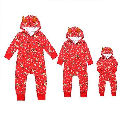 Traje a juego de pijamas familiares de Navidad Sudadera con capucha de mameluco para bebés de