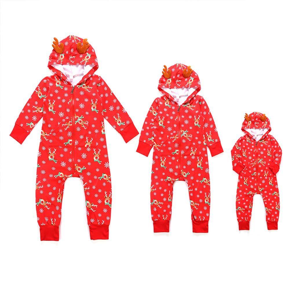 Jlong Christmas Pajamas Hoodie Family Matching Xmas Pajamas Set Sleepwear Jumpsuit