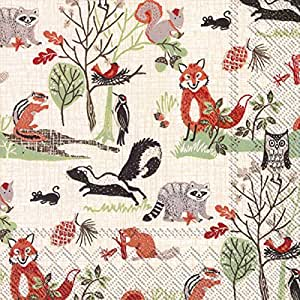 Ideal Home Range 20 Count Decorative Paper Napkins, Luncheon, Woodland Animals